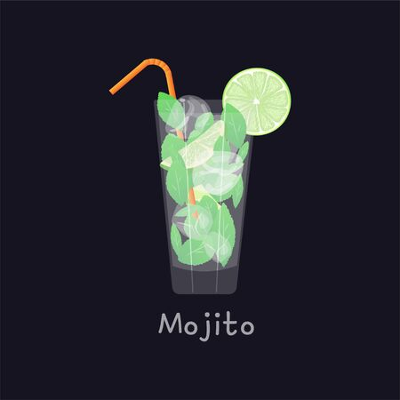 Mojito summer beach refreshing tropical cocktail in glass with soda water, lime juice, mint leaves, sugar, ice and rum on black background, vector illustration. Mojito with straw, lime and ice cubes. Ilustrace