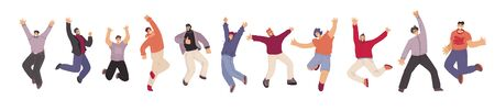 Vector flat collection of Happy Man illustration, dancing and jumping with joy, cheer, happiness, isolated on white background. Cheerful man, unity, frendship and brotherhood concept.