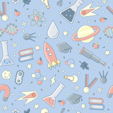 Back to school pattern. Science flat seamless pattern with scientific elements - molecule, atom structure, rocket, books, water and other on one simple educational and school seamless pattern. Illustration