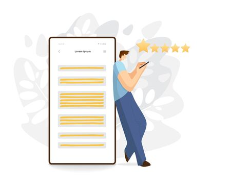 Man standing near by cell phone, smartphone, giving feedback for servise or product. Flat modern illustration, customer service concept, banner for website or app. Feedback illustration