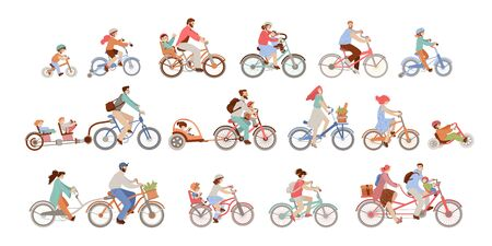 Set of man, women and children riding bicycles of different types - city, bmx, hybrid, chopper, cruiser, fixed gear, balance bike, co-pilot trailer and trailer for kids. Active family vacation.