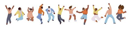 Vector flat collection of african american happy men and women, jumping and dancing with cheer, joy, happiness. African american jumping happy people illustration. Happiness, freedom, motion and motivational concept Çizim