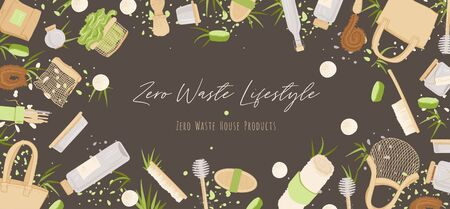 Zero Waste Vector Concept illustration in Minimalism Style, with Reusable and Recycle Zero Waste products about Kitchen, house hold and house keeping theme Illustration