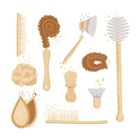 Vector cartoon set of kitchen, household and house cleaning brushes, pads and sponges. Ecology Zero Waste vegetable scrubber and dishwashing kit. Natural organic kitchen bamboo brush.