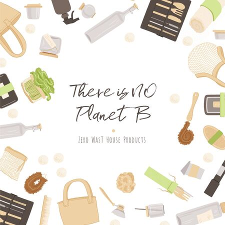 Zero Waste Vector Concept illustration in Minimalism Style, with Reusable and Recycle Zero Waste products about Kitchen, house hold and house keeping theme