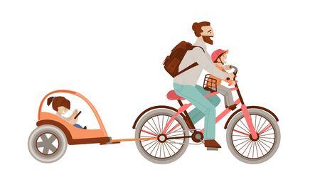Padre felice in sella a una bicicletta con due bambini sulla schiena Rimorchio bici bambino. Famiglia felice in bicicletta, uomo e bambini - illustrazione del fumetto di vettore, isolato su priorità bassa bianca.