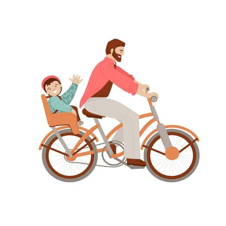 Happy father riding a bicycle with kid on baby carrier bike seat, waving his heand in cheer mood. Happy father with child doing summer activities on bike, vector illustration