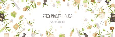 Zero Waste Vector Concept illustration in Minimalism Style, with Reusable and Recycle Zero Waste products about Kitchen, house hold and house keeping theme. Illustration