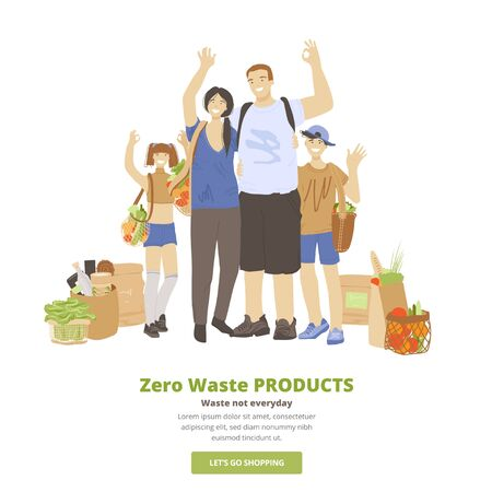 Vector illustration of happy cheerful family of man, woman and two kids, hugging, waving hands, showing OK sign and holding Zero Waste Ecological Products in reusable bags. Eco family concept