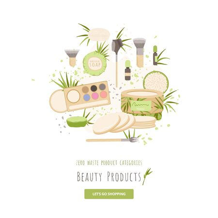 Vector set of beauty and hygiene Zero Waste Products. Brush, natural soap, organic package, menstrual cloths, pads and makeup accessories with bamboo, cotton decoratives. Ecology set