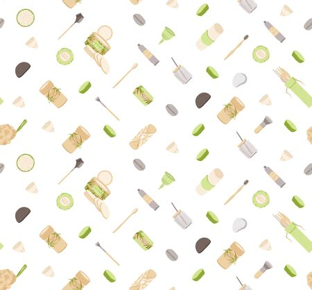Zero Waste Vector Seamless Pattern in Minimalism Style, with Reusable and Recycle Zero Waste products - Pad, Box, Charcoal toothbrush, Natural Soap and other. Eco friendly repeatable pattern. 일러스트
