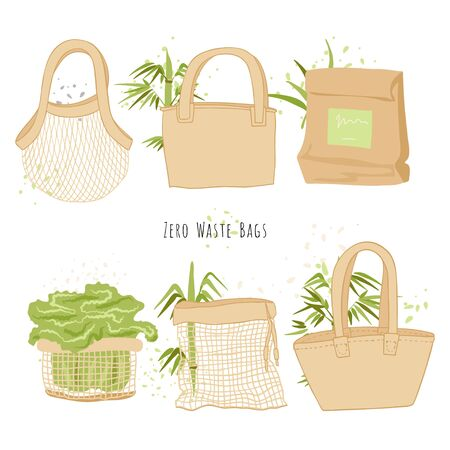 Set of Isolated Eco bags in hand draw cartoon styl with bamboo decorations. Ecology Environment grocery shopping bag collection, Zero waste bags and Stop plastic pollution concept. Vetores