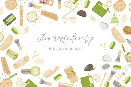 Zero Waste Vector Concept illustration in Minimalism Style, with Reusable and Recycle Zero Waste products about personal care, beauty, hygiene 일러스트