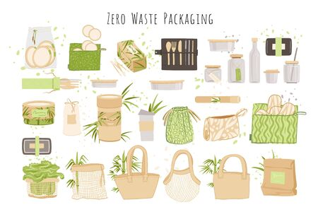 Organic Zero Waste Reusable packaging, paper boxes, Eco-friendly Natural Bamboo Cotton textile bag, washable lunch boxes and glass. Zero waste packaging vector collection