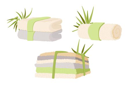 Vector Illustration of Natural Bamboo and Cotton Towels for Home, SPA and Hotels. One white towel, Pack of several Kitchen Towel with Bamboo leaves decoration