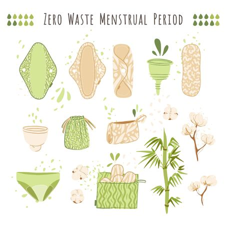 Zero Waste woman menstrual period vector cartoon flat set with eco friendly products - reusable menstrual pads, Cloths, cup, recycle bags of cotton textile.