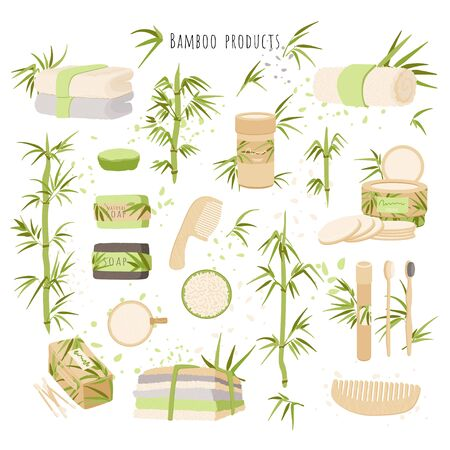 Zero Waste and Ecological vector illustration of Bamboo products and packaging. Reusable makeup Pads, brush, narural soap, organic toothbrush and other eco bamboo products