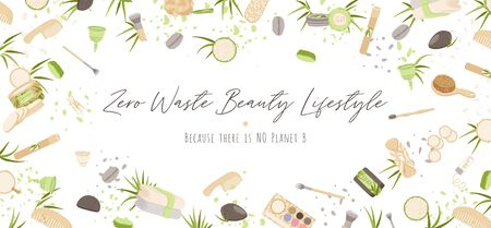 Zero Waste Vector Concept illustration in Minimalism Style, with Reusable and Recycle Zero Waste products about personal care, beauty, hygiene for eco-friendly advertising