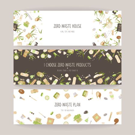 Set of Zero Waste Vector Concept illustration in Minimalism Style, with Reusable and Recycle Zero Waste products - Beauty, Kitchen, personal care and hygiene for ecology friendly advertising