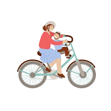 Happy mother riding a bicycle with little boy on front Child Bike Seat, Baby Carrier Seat. Happy family on bicycle, woman and kid - vector cartoon illustration, isolated on white background Vettoriali