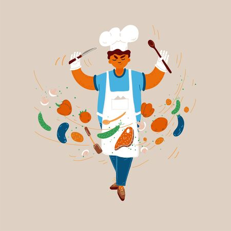 Vector cartoon illustration of home and small restaurant male man cook concepts. Boy cook conducting food creating process with serious face expression.