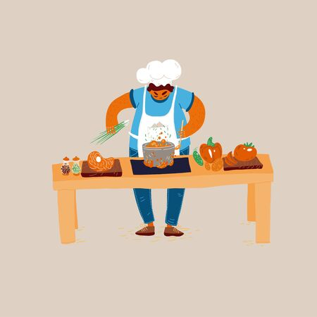 Vector cartoon illustration of home and small restaurant male man cook concepts. Creating Ideas for Cooking, conducting cook process, chef man showing sign for delicious, with taste approval gesture