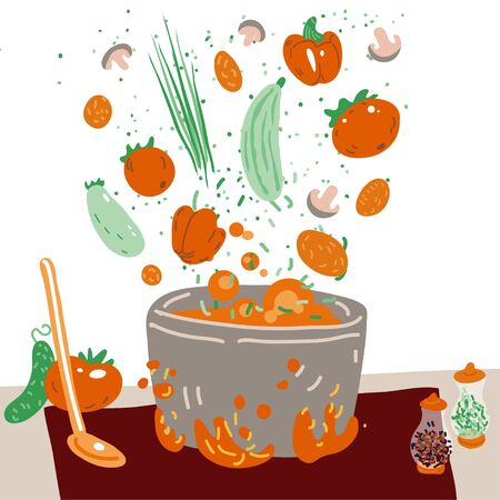 Making vegetarian soup vector concept. Pot with bulbing delicious veg food on a fire and all ingredients around it - vegetables, greenery, seasonings and Flavoring. Professional and Home cooking