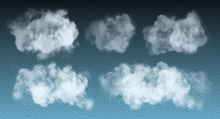 Vector set of realistic isolated cloud on the transparent background. 向量圖像