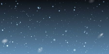 Falling winter christmas realistic snow on transparent background. Bokeh lights and flying snowflakes in the air. Overlay texture of winter Snowstorm. Vector heavy snowfall, snowflakes Иллюстрация
