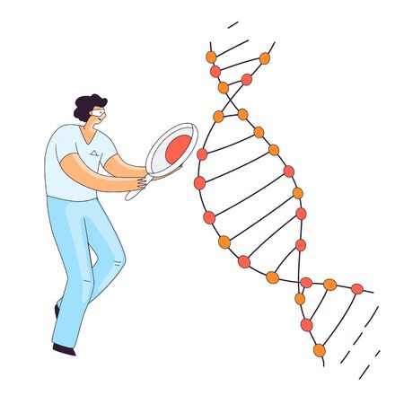 Flat Illustration of Scientist Man, Character Doing Genetic DNA Gene Research. Man looking for an Information in DNA Spiral for CRISPR Therapy, Vector Concept.