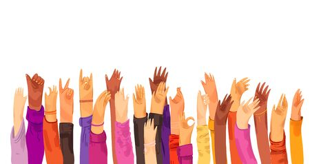 Vector flat illustration of raised up human hands, multiracial. Concept of education, business training, volunteers, voting - raised hands in croud, isolated