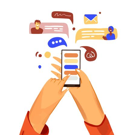 Hand with phone vector cartoon illustration. Smartphone with messenger, online chat, like and social engagement, isolated on white background Ilustração