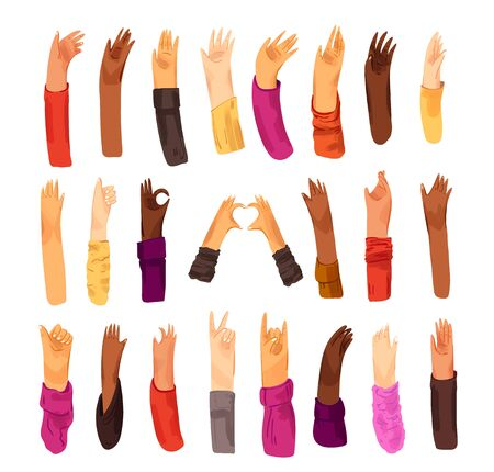 Human hand with collection of signs and hand gestures - ok, love, greetings, peace, waving hands. Man and woman of different nationality, multiracial hands set Ilustração