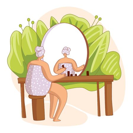 Girl, sitting in front of mirror, doing everyday morning routine, cleansing or moisturizing her skin. Personal care, skincare daily routine, hygienic procedure. Flat cartoon vector illustration