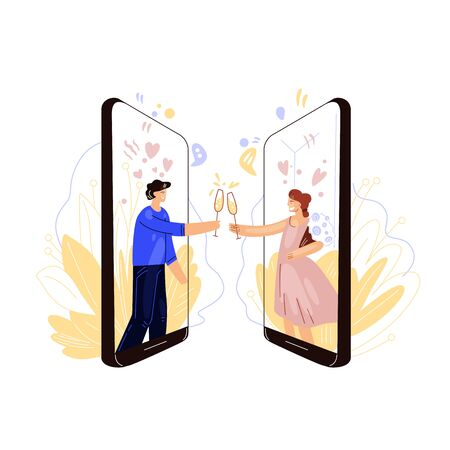 Vector flat illustration of online dating industry. Happy man and woman, clink glasses of wine or champagne, having romantic remote evening and date. Virtual love and date concept.