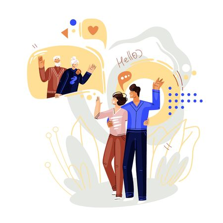 Man and woman walking and talking on online video conference with family, grand seniors. Vector flat concept of online communication and virtual family meeting. Smartphone online chat illustration