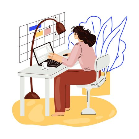 Freelance woman work in comfortable cozy home office vector flat illustration. Freelancer girl character working from home at relaxed pace, self employed concept