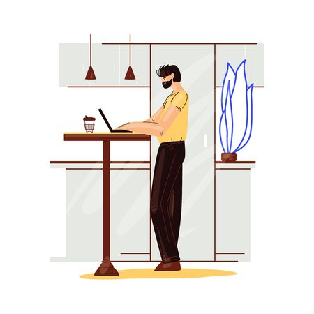 Freelance man work in comfortable cozy home office in kitchen vector flat illustration. Freelancer man character working from home at relaxed pace, self employed concept