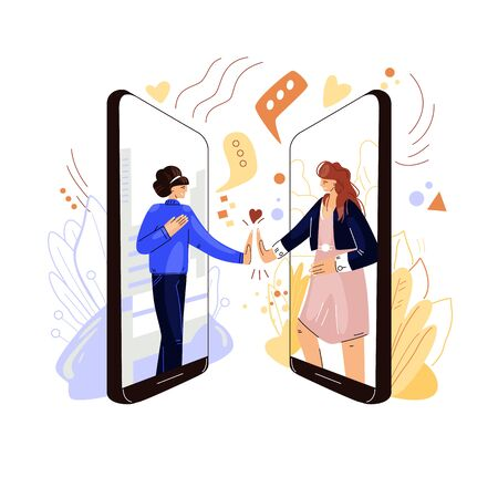 Online friends support vector flat concept. Two woman characters holding hands, sharing sympathy, support and love to each other with remote virtual video conference, phone call. Ilustração
