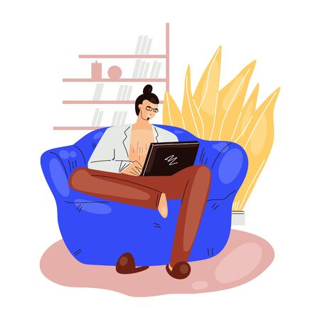 Freelance man work in comfortable cozy home office in armchair sofa vector flat illustration. Freelancer man character working from home at relaxed pace, self employed concept
