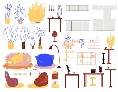 Vector cartoon interior set with furniture, home plants, lamps, tables for work and kitchen, home office accessories. Living room, kitchen and home office interior with Isolated objects. Ilustração