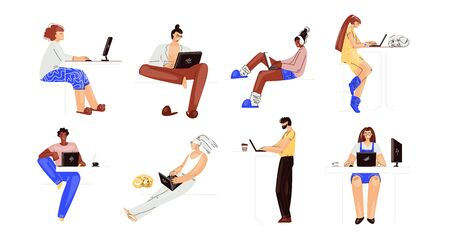 Vector set of people working on a laptop. Man and woman multiracial characters, working remotely at home collection. Remote work, home office character set.