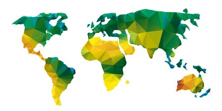 Vector polygonal world map. Low poly design with yellow and green colors. Origami planet conceptual illustratio of world map synthesis. Global technology map