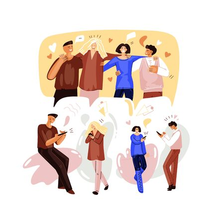 Vector Flat Illustration of Online party concept, birthday, meeting friends on videoconference. People meeting and chatting together in quarantine. Group of people walking, having remote meet Ilustração