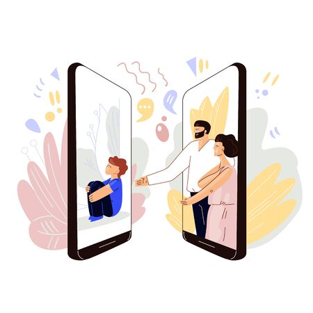 Parents meeting online with kids - vector flat concept. Man and woman sharing love and sympathy with little kid, sitting alone. Video conference, remote communication online with family and children