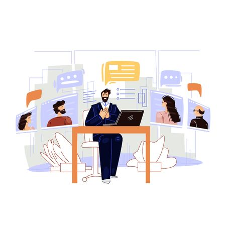 Business video conference vector flat illustration. Man businessman character sitting in office, making work online remote meeting with Colleagues. Job online interview, online work planning Ilustração
