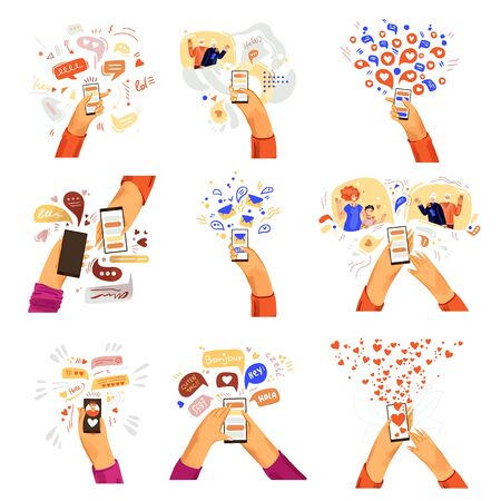 Vector flat hands with phone illustrations. Communication online, smartphone chat, video call with family and friends, online friendship in messenger concepts. Social networking, chatting with phone Ilustração
