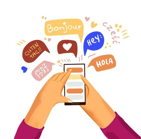 Learn and study language flat vector. Hand with phone and greetings on different languages in applicaton on phone screen. International communication, making friends in different countries concept