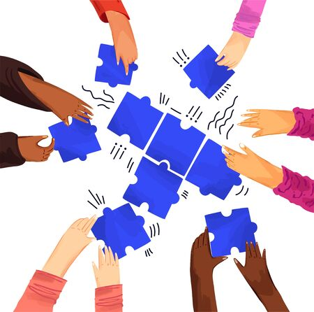 Hands of diverse people with puzzles vector illustration. Solving problems with team, making decisions. Hands assembling jigsaw puzzle, african and caucasian team put pieces together Vettoriali
