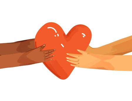 Vector flat illustration of diverse people sharing love, support, appreciation to each other. Hands giving heart, and hands taking heart as a sign of connection and unity. Love concept isolated